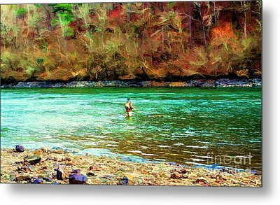 Metal Print featuring the photograph Fisherman Hot Springs Ar In Oil by Diana Mary Sharpton