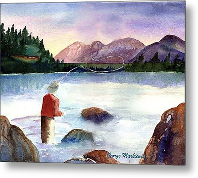 Fisherman In The Morning Metal Print by George Markiewicz