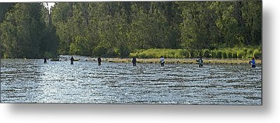 Fisherman Lineup Kenai River Metal Print by Mary Gaines