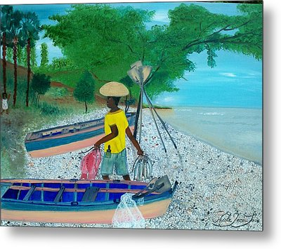 Metal Print featuring the painting Fisherman Returning Home by Nicole Jean-louis