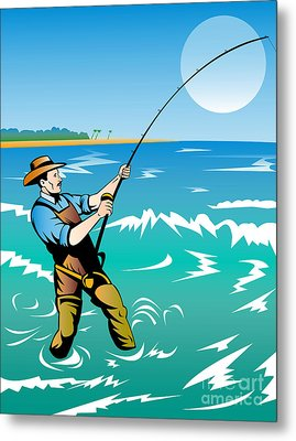 Fisherman Surf Casting Metal Print