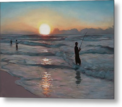 Fishermen At Sunrise Metal Print by Christopher Reid