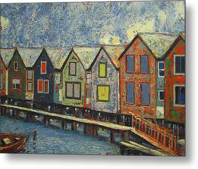 Metal Print featuring the painting Fishermen Huts by Walter Casaravilla