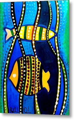 Metal Print featuring the painting Fishes With Seaweed - Art By Dora Hathazi Mendes by Dora Hathazi Mendes