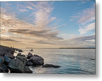 Metal Print featuring the photograph Fishing Along The South Jetty by Greg Nyquist