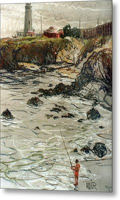 Fishing At Pigeon Point Metal Print by Donald Maier