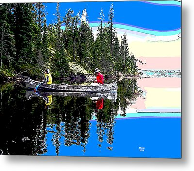 Fishing At Sunrise Metal Print by Charles Shoup