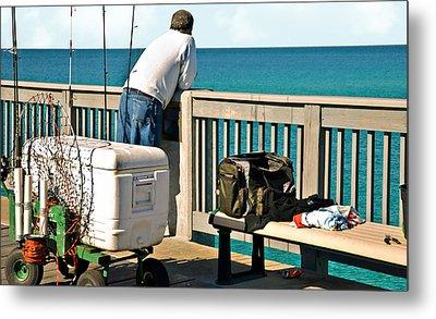 Fishing At The Pier Metal Print by Susan Leggett