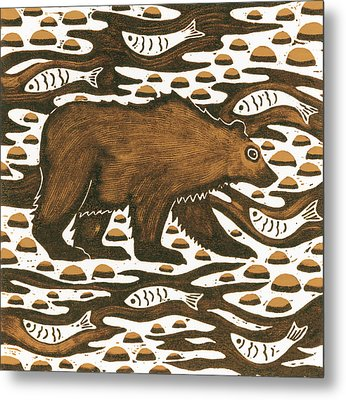 Fishing Bear Metal Print by Nat Morley