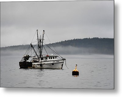 Fishing Boat Fog Bar Harbor Maine Metal Print by Terry DeLuco