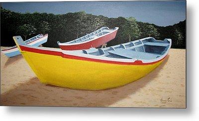 Fishing Boats At Crashboat Beach Metal Print by Orlando Torres Santiago