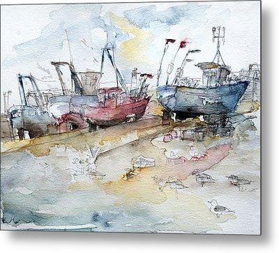 Fishing Boats At Hastings' Beach Metal Print by Barbara Pommerenke