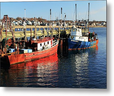 Metal Print featuring the photograph Fishing Boats At Provincetown Wharf by Roupen  Baker