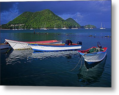 Fishing Boats At Sunrise- St Lucia Metal Print by Chester Williams