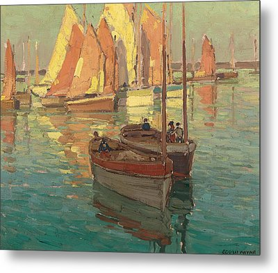 Fishing Boats In A Harbor Metal Print