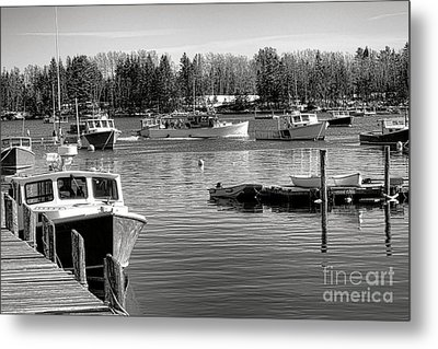 Metal Print featuring the photograph Fishing Boats In Friendship Harbor In Winter by Olivier Le Queinec