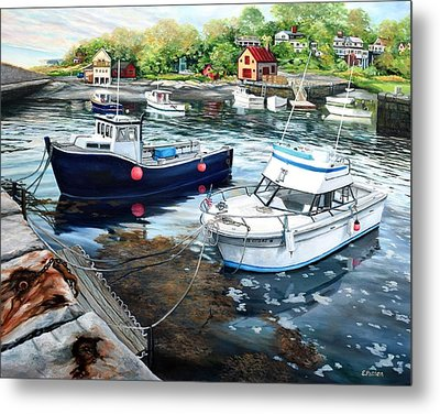Fishing Boats In Lanes Cove Gloucester Ma Metal Print by Eileen Patten Oliver