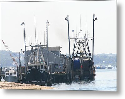 Fishing Boats In Montauk Metal Print by Christopher Kirby
