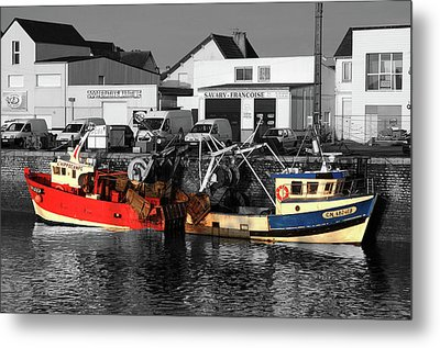 Fishing Boats In Sheltered Harbour Metal Print
