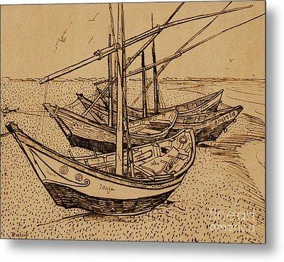 Fishing Boats On The Beach At Saintes-maries De La Mer, 1888 Metal Print