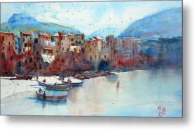 Fishing Boats On The Beach Of Cefalu Metal Print by Andre MEHU