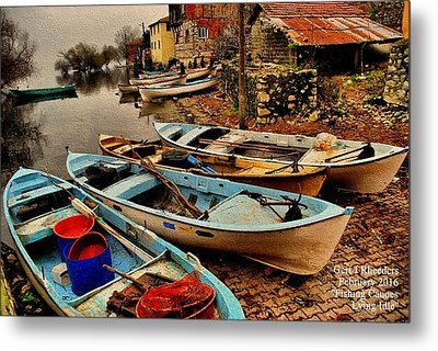 Fishing Canoes Lying Idle L A Metal Print