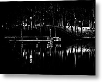 Metal Print featuring the photograph Fishing Dock At Night 2017  by Thomas Young