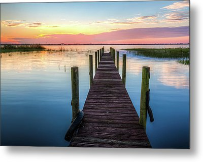 Metal Print featuring the photograph Fishing Dock At Sunrise by Debra and Dave Vanderlaan