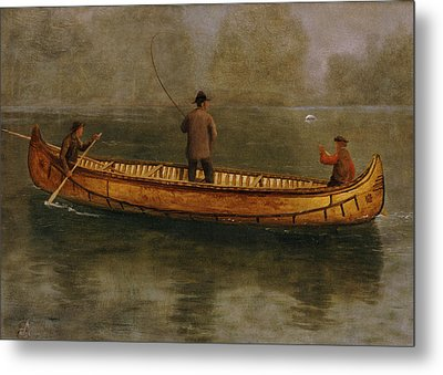 Fishing From A Canoe Metal Print by Albert Bierstadt