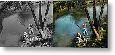Fishing - Gone Fishin' - 1940 - Side By Side Metal Print