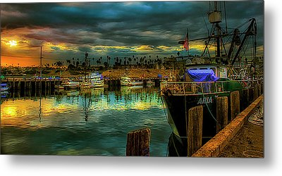 Fishing Harbor At Sunset Metal Print by Joseph Hollingsworth