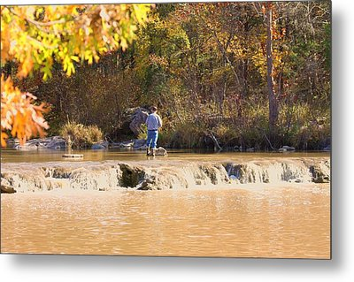 Metal Print featuring the photograph Fishing In Fall by Sheila Brown