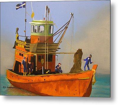 Fishing In Orange Metal Print