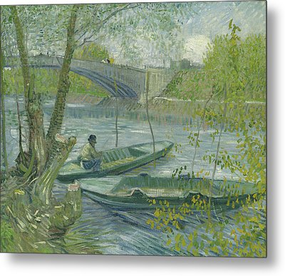 Fishing In Spring, The Pont De Clichy Metal Print
