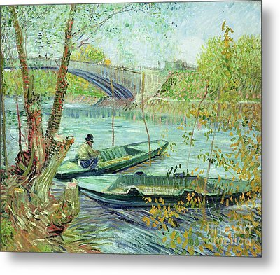 Fishing In The Spring Metal Print by Vincent Van Gogh