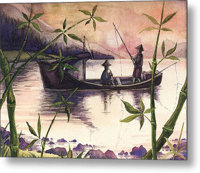 Fishing In The Sunset   Metal Print