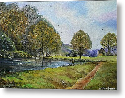 Fishing In The Wye Valley Metal Print by Andrew Read