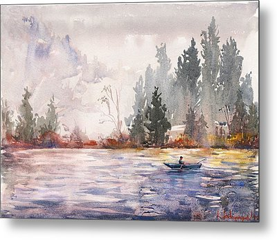 Fishing Metal Print by Kristina Vardazaryan
