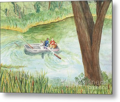 Metal Print featuring the painting Fishing Lake Tanko by Vicki  Housel
