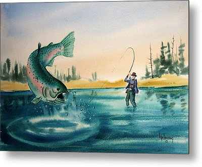 Fishing Montana Metal Print by Kevin Heaney