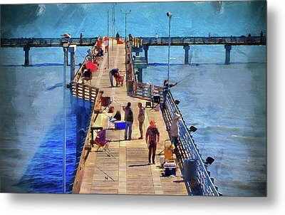 Fishing Off Galvaston Pier Metal Print