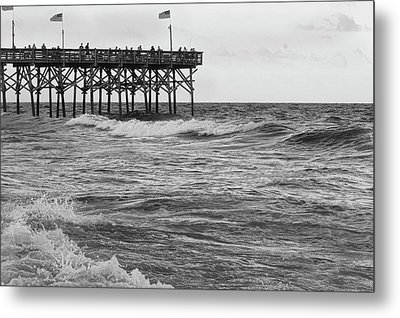 Metal Print featuring the photograph Fishing Off The Pier At Myrtle Beach by Chris Flees