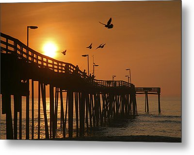 Fishing Pier At Sunrise Metal Print by Steven Ainsworth