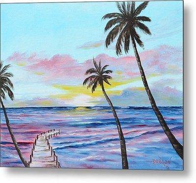 Fishing Pier Sunset Metal Print by Lloyd Dobson