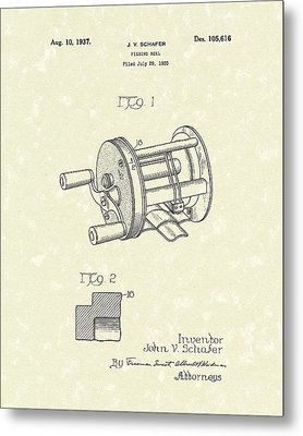 Fishing Reel 1937 Patent Art Metal Print by Prior Art Design