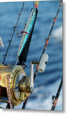 Fishing Rods Onboard A Boat In The Mediterranean Sea Metal Print by Sami Sarkis