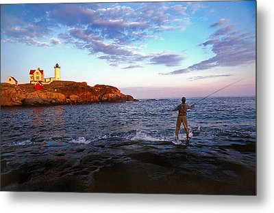 Fishing The Nubble Metal Print by Skip Willits
