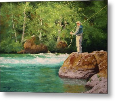 Fishing The Umpqua Metal Print by Nancy Jolley
