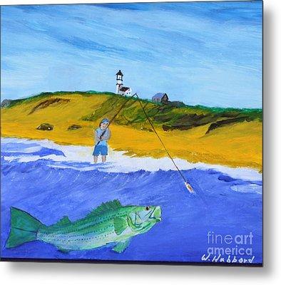 Fishing Under Highland Light Metal Print