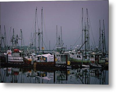Fishing Wharf In Clearing Mist Metal Print